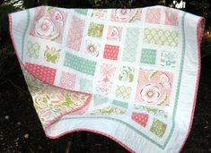 BELLA BUTTERFLY modern baby quilt girl pink by ArtistryWithFabric, $135.00