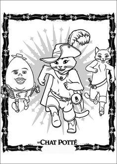 De gelaarsde kat Kleurplaten voor kinderen. Kleurplaat en afdrukken tekenen nº 2