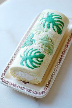 chiffon roll cake with fabric print