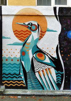 Street Wall Art, Murals Street Art, Street Art Graffiti, Urban Street Art, Mural Wall Art, Bird Art, Painting Inspiration, Graphic Art, Modern Art