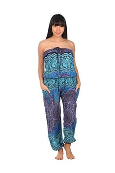 bf1506ee9c27 Lannaclothesdesign Women s Rose Circle P2 Printed Bohemian Style Jumpsuit  Thai Clothing One Size Blue Long Romper