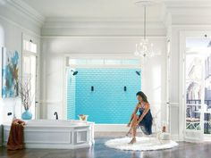 Love the open spaces and bath. Big shower heads also a plus!