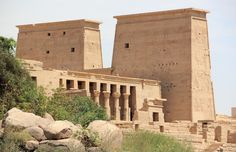 The temple of Philae looks amazing from small boats sailing around the Isis Island
