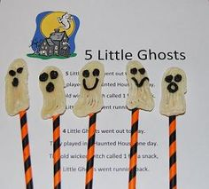 5 Little Ghosts - printable song/chant and stick puppet creations for storytelling & retelling #Halloween #preschool #ece