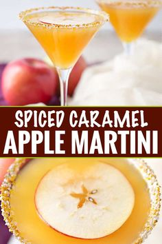 Sweet spiced apple cider mixed with caramel flavored vodka, shaken over ice and served with a slice of sweet apple as a garnish! Mix apple cider up with some caramel vodka in the most delicious spiced caramel apple martini you've ever tasted! Caramel Apple Martini, Caramel Vodka, Caramel Apples, Carmel Vodka Drinks, Apple Martinis, Flavored Vodka Drinks, Apple Cider Drink, Spiced Apple Cider, Cocktail