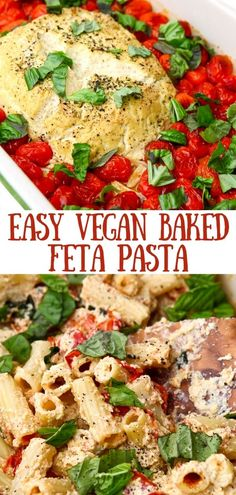 An easy vegan pasta dish made from baked vegan feta, cherry tomatoes, and basil. Roasted to perfection then tossed with cooked pasta of choice for an easy vegan dinner that the whole family will love. thehiddenveggies.com High Protein Vegetarian Recipes, Vegetarian Recipes Dinner, Vegan Breakfast Recipes, Good Healthy Recipes, Vegan Dinners, Vegan Recipes Easy, Pasta Recipes, Easy Delicious Dinner Recipes, Easy Vegan Dinner