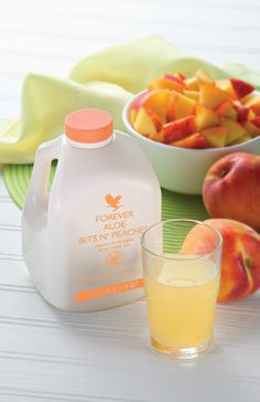 Forever AloeBitsN'Peaches Pure nutritious pieces of aloe vera bathed in the flavour of sun-ripened peaches. This is a natural and fruity drink, ideal for all of the family.