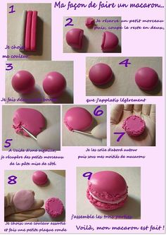 Tutorial per fer macarons Oooh I see a way to get the edges looking right now! Cute Polymer Clay, Cute Clay, Polymer Clay Dolls, Polymer Clay Miniatures, Polymer Clay Charms, Polymer Clay Creations, Polymer Clay Jewelry, Crea Fimo, Clay Magnets