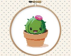 Kawaii cactus cross stitch pattern - cute cross stitch - funny cross stitch PDF - instant download - digital download - succulent
