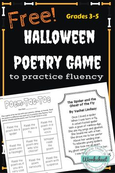 "This is such a fun Halloween poem and a great way to practice fluency! Play just like tic tac toe, but you have to read the poem before you take a turn. The boxes tell you how you have to read it…""Read the Poem Like a Spider."" The poem text for ""The Spider and the Ghost of the Fly"" is also included! Free from More Than a Worksheet"