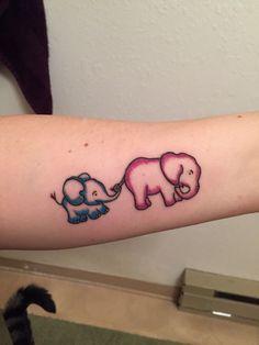 Mother son elephant tattoo