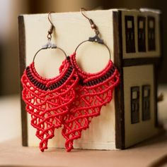 Red Grape Shaped Macrame Earrings