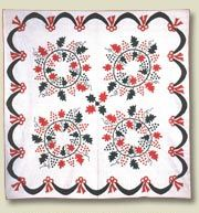 """Grapes Wreath  Inscribed in quilting: CHwF, Baltimore, MD, 1871  88"""" x 88""""  IQSC 2004.016.0015  The Linda and Dr. John Carlson Four Block Quilt Collection  Four-Part Harmony: The Linda Carlson Four-Block Quilt Collection Exhibition"""