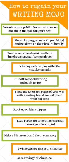 It's so hard to get back to writing once we've dropped the ball, but if it's rolling down the sidewalk even now, we can catch it!  Try one of these ideas, tomorrow if not today, and your writing mojo will be crawling in the doggy door before you know it.  Click the pin for even more ideas to bust your writer's block. // Something Delicious