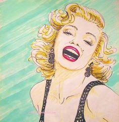 Original Marilyn Monroe Pop Art by Jill Dianne by JillDianneArt, $90.00 by katcre | This image first pinned to Marilyn Monroe Art board, here: http://pinterest.com/fairbanksgrafix/marilyn-monroe-art/ || #Art #MarilynMonroe