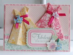 cardmaking Anna Griffin floral card - paper folding origami dress ribbon and flower