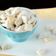 YUM!!!! Lemon Puppy Chow - Melt 1/2 stick butter, 1 C (or more) white chocolate chips, zest and juice of one small lemon, stir until smooth and pour over 1 box Vanilla Chex. Stir gently to combine then coat in powdered sugar. YUM!
