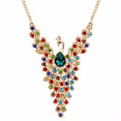 colorful rhinestone peacock pendant statement necklace