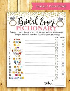 Bridal Shower Game Pictionary - EMOJI Pictionary - Coral and Gold - Instant Printable Digital Download - diy Bridal Shower Printables by ImageOak on Etsy https://www.etsy.com/listing/480012379/bridal-shower-game-pictionary-emoji