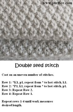 | Would be gorgeous if used in a blanket :) | Keywords: double seed stitch, knit, purl, pattern, DIY, craft