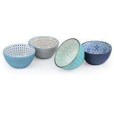 Signature Housewares Navy & Turquoise Geometric 28-Oz. Bowls ($22) ❤ liked on Polyvore featuring home, kitchen & dining, dinnerware, turquoise dinnerware set, geometric dinnerware, stoneware dinnerware, signature housewares dinnerware and turquoise bowl