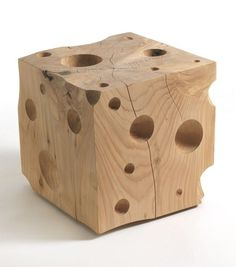 Low wooden #stool CHEESE by @Riva Industria Mobili  #wood