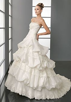Ball Gown Zipper Empire Exclusive Tiers Wedding Dress