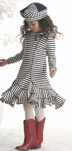 Kate Mack ``Poodle in Paris`` Navy Blue Stripe Dress *PREORDER*Sizes 4-16