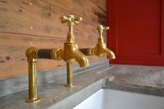 www.arnoldskitchens.co.uk Very cool brass and copper reclaimed bib taps