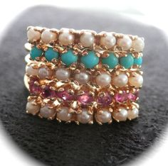Fabulous 14K Gold Turquoise, Pearl, Ruby Harem Ring found on Ruby Lane