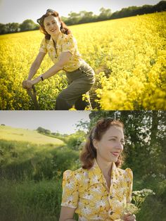 land girl style! Hand made blouse and corduroy 1940s trousers by Heyday