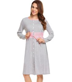 3ad0be204e Ekouaer Women Vintage Sleep Dress Women Sleepwear Long Sleeve Lace  Patchwork Button Down Sleepshirt Nightgown Sleep