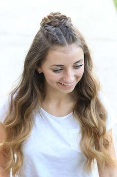 Cool and Easy DIY Hairstyles - Half-Up Rosette Combo - Quick and Easy Ideas for Back to School Styles for Medium, Short and Long Hair - Fun Tips and Best Step by Step Tutorials for Teens, Prom, Weddings, Special Occasions and Work. Up dos, Braids, Top Kno (braided hairstyles for long hair mornings)