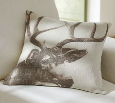 Antler Pillow Cover | Pottery Barn - Would be really cute with a plaid throw next to it for Christmas decor
