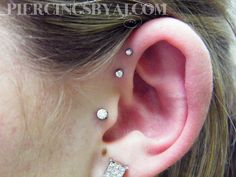 Tragus with forward helix piercings