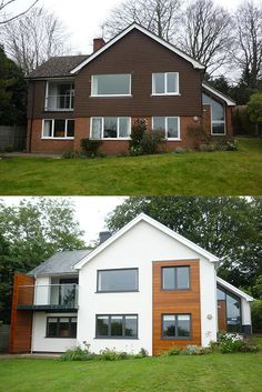 Home Exterior Makeover Exterior Home Makeovers Best Ideas House Makeovers House Front House Cladding, Facade House, Exterior Cladding, House Exteriors, House Ideas Exterior, Cladding Design, Exterior Windows, Bungalow Exterior, House Facades