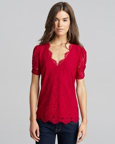 Brianda Lace Top, Red by Joie at Neiman Marcus.