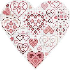 heart of hearts cross-stitch (Couer de Couers) - free Wedding Cross Stitch Patterns, Counted Cross Stitch Patterns, Cross Stitch Designs, Cross Stitch Embroidery, Cross Stitch Pillow, Cross Stitch Heart, Cross Stitch Flowers, Cross Stitch Silhouette, Cross Stitch Freebies