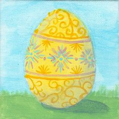 Easter Egg III - original acrylic painting on canvas board w/ display easel Spring Art Projects, Display Easel, Egg Art, First Art, Canvas Board, Egg Decorating, Art Club, Whimsical Art, Acrylic Painting Canvas