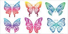 Buy Butterfly by kuzzie on GraphicRiver. Set of colorful butterfly illustration This image is a vector illustration and can be scaled to any size without loss. Butterfly Template, Butterfly Art, Butterflies, Symmetry Activities, Butterfly Illustration, Small Wrist Tattoos, Vector Design, Website, Magenta