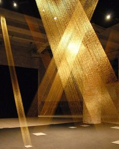 "13.2k Likes, 66 Comments - designboom magazine (@designboom) on Instagram: ""carefully lit gold threads appearing to be of cosmic immateriality is brazilian artist lygia pape's…"""