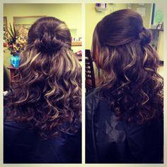 Half up half down prom hair curls wedding formal hair by Jamilyn Vaughn owner of Egos & Envy Hair Salon