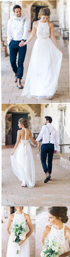Simple Jewel Sleeveless Chiffon Lace Top Wedding Dress,Lace Tulle Beach Wedding Dress with belt N28