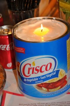 Crisco Candle for emergency situations. Simply put a piece of string in a tub of shortening, and it will burn for up to 45 days....Wow!!...who knew?