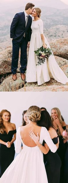 elegant scoop wedding dresses with long sleeves, modest formal backless wedding gowns.