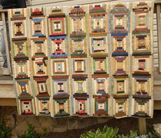Shabby Antique Courthouse Step Quilt 68x68 by AtHomeSewingSeeds, $95.00