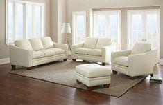 Pavarotti Cream Leather Sofa Set
