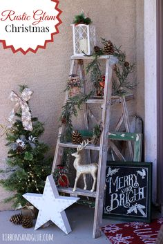 Rustic Glam Christmas Front Porch. A vintage ladder decorated with #BigLots Holiday Collection. #BIGSeaason
