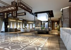 Linear shapes dominate in this hotel lobby - 6 Ways Hotel Lobbies Teach us About Interior Design
