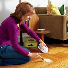 Silence squeaky wood floors by sprinkling on talcum powder.Use a paintbrush to work the powder into the joints between boards and sweep away any excess. For tight spots you can use powdered graphite that's squeezed from a tube. Photo: Laura Moss. thisoldhouse.com